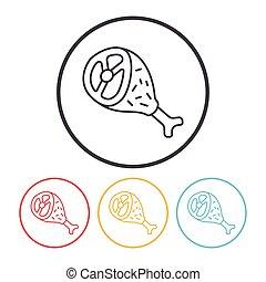 csirke icon, egyenes, hús