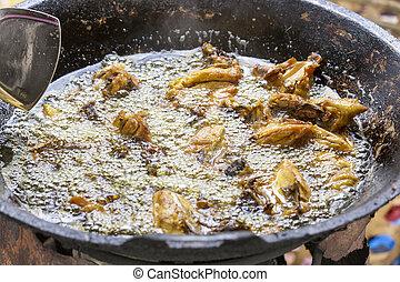 csirke, serpenyő, főzés, vas, sült