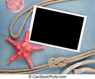 csiszol, tenger, fénykép keret, odaköt, tengeri kagylók, tiszta, hajó
