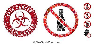 csiszolt, sör, kollázs, rák, nem, bőr, palack, fóka, ikon