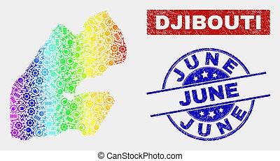 csiszolt, térkép, június, színkép, topog, szerkesztés, djibouti