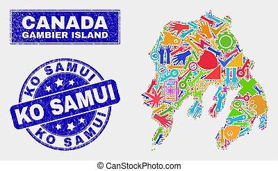 csiszolt, térkép, samui sziget, kiütés, gambier, fóka,...