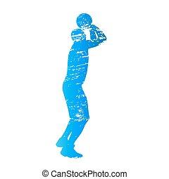 csiszolt, vektor, árnykép, közül, lövés, kosárlabda játékos