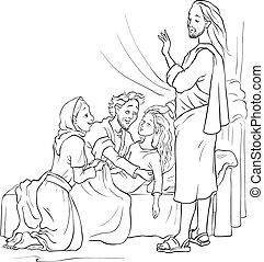csodák, jairus, lány, emelés, jesus.