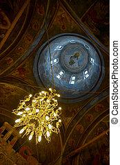 csodálatos, belső, plafon, közül, egy, orthodox templom