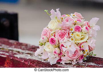 csodálatos, fényűzés, esküvő bouquet, közül, különböző, menstruáció