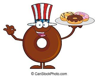 csokoládé, amerikai, fánk