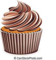 csokoládé, vektor, cupcake
