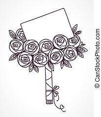 csokor, agancsrózsák, üzenet, kártya