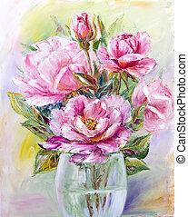csokor, agancsrózsák, pohár váza