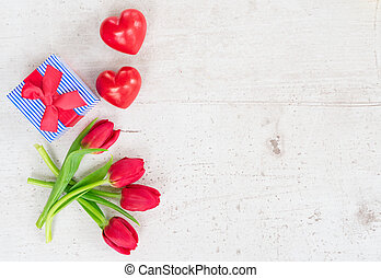csokor, bíbor, sárga, piros, tulipánok