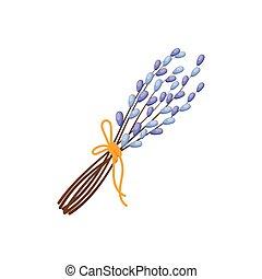 csokor, fűzfa, elágazik, húsvét, cica