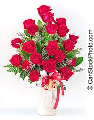 csokor, közül, piros rózsa