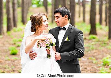 csokor, lovász, menyasszony, park., esküvő, lakodalmi, menstruáció