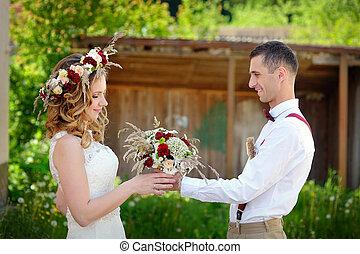 csokor, menyasszony, lovász, ad, esküvő