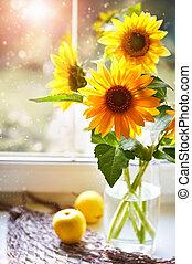 csokor, nyárias, napos, ablak, napraforgók, mozdulatlan