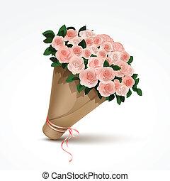 csokor, rózsaszínű, elszigetelt, agancsrózsák