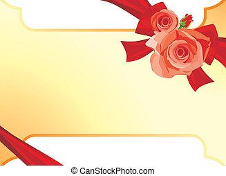 csokor, roses., kártya, ünnepies