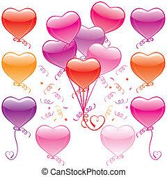 csokor, szív, balloon