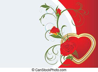 csokor, szív, piros rózsa