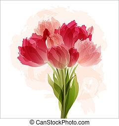 csokor, tulipánok, virágos, háttér