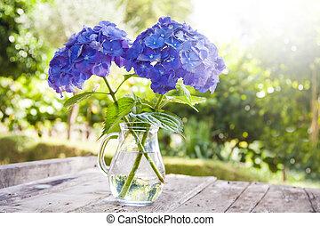 csokor virág, alatt, a, váza