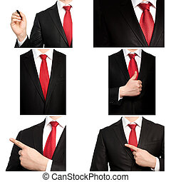 csomó, üzletember, piros öltöny