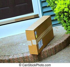 csomag, bal, előrehajlás, bejárati ajtó