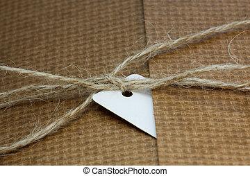 csomag, hozzácsatolt, bekötött, címke, cím, fehér, húr