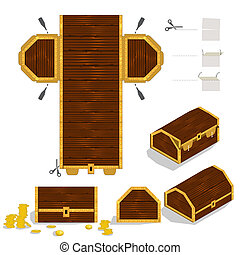 csomagolás, doboz, láda, kincs, tervezés