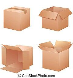 csomagolás, vektor, dobozok