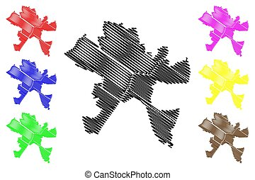 csongradr, mapa, county), garabato, ciudad, (hungary, ...