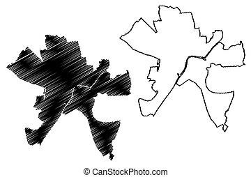 csongradr, szeged, (hungary, ilustración, county), garabato...