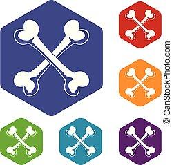 csont, ikonok, vektor, hexahedron