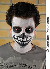 csontváz, hátborzongató, arc portré, pasas, (carnival, painting)