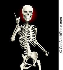 csontváz, kötekedő