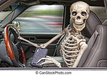 csontváz, vezetés, texting