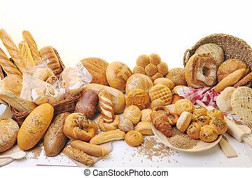 csoport, élelmiszer, friss kenyér