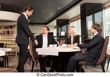 csoport, ügy emberek, öltözött, étterem, forrás, köszönés,...