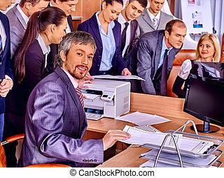 csoport, ügy emberek, alatt, hivatal.