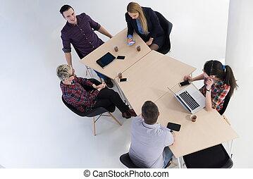 csoport, ügy emberek, antenna, gyűlés, kilátás