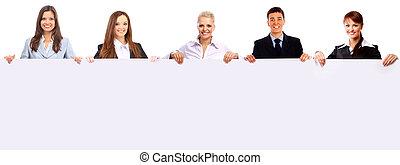 csoport ügy emberek, birtok, egy, transzparens