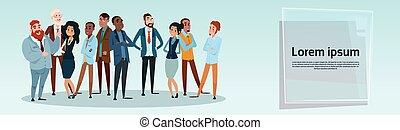 csoport, ügy emberek, businesspeople, elegyít, faj, befog
