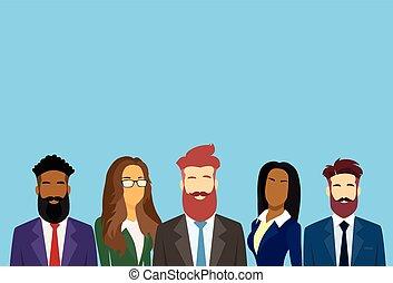 csoport, ügy emberek, businesspeople, különböző, befog