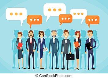 csoport, ügy emberek, kommunikáció, beszéd, csevegés, fejteget