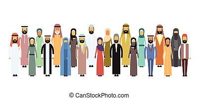 csoport, arab, ügy emberek, arab, befog
