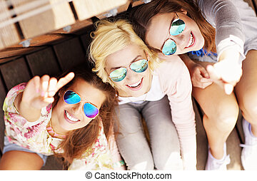 csoport, barátok, boldog