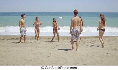 csoport, barátok, fiatal, móka, tengerpart, birtoklás