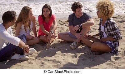 csoport, beszélgető, tengerpart, fiatal, különböző, barátok