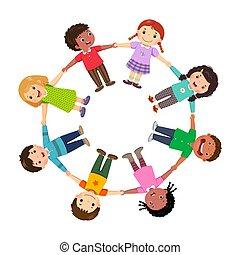 csoport, birtok, gyerekek, karika, kézbesít